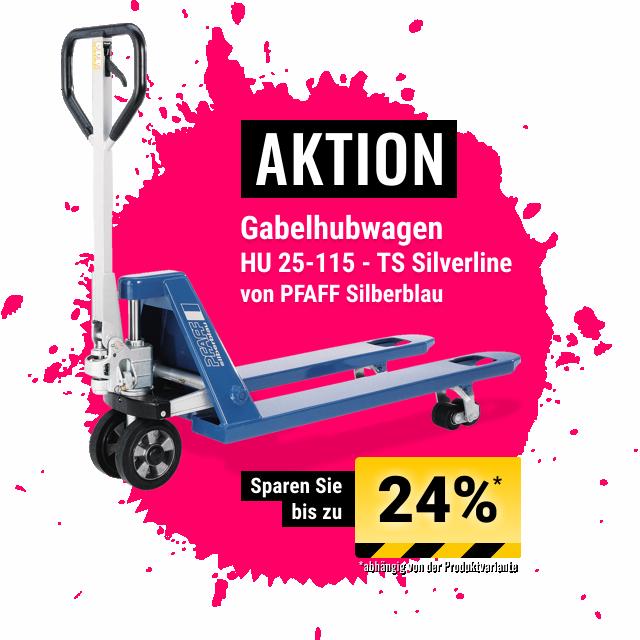 AKTION - Gabelhubwagen HU 25-115 TS Silverline von PFAFF Silberblau bis zu 24% Rabatt und kostenloser Versand bis 30.06.2019